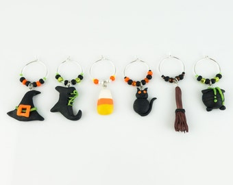 Halloween Wine Charms (6) - hand sculpted in Polymer Clay, Witches set