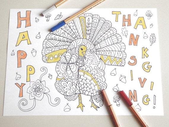 Tacchino ringraziamento cartolina colorare per adulti bambini - Tacchino stampabile per il ringraziamento ...