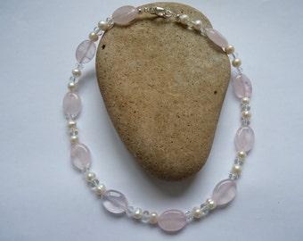 Rose Quartz & Freshwater Pearl Necklace