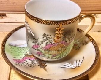 Gorgeous Lithopane Demitasse Teacup and Saucer Japan