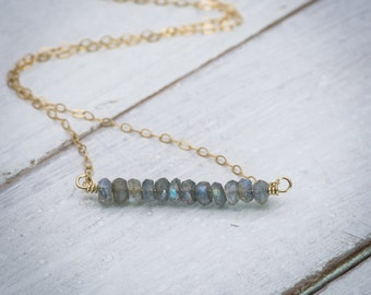 Labradorite jewelry, labradorite necklace, bar necklace, gemstone necklace, natural stone necklace, dainty necklace, simple necklace.