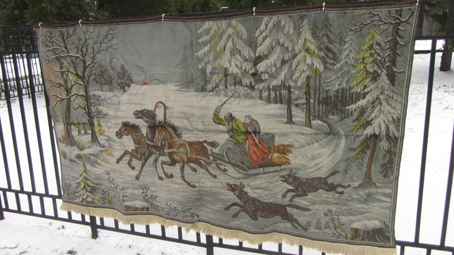 Wool Viscose Fairy Tale Carpet from USSR, Wool and viscose wall hanging, Home de
