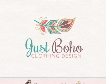 feather logo design boho logo design boho chic logo photography logo photographers logo lifestyle blog logo premade logo jewelry shop logo