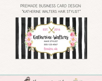 hair stylist business card scissors business card flower business card watercolor business card stylist business card calling card