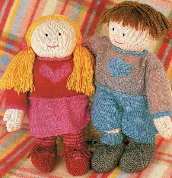 Knitting Pattern Large Rag Doll : Large Boy & Girl Rag Dolls Knitting Patterns Toy Pillow ...