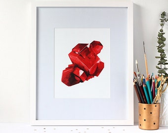 Marked Down Fine Art Watercolour Garnet Print