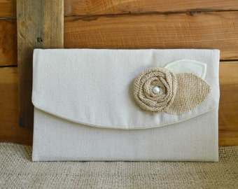 Rustic Clutch Burlap Flower Purse Handmade Gift Makeup Bag Gift under 15 Rustic Wedding Clutch