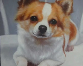 Custom pet oil portrait painting-Original oil portrait from your photos-Hand painted oil painting on canvas-Dog,Cat,Horse portrait and etc