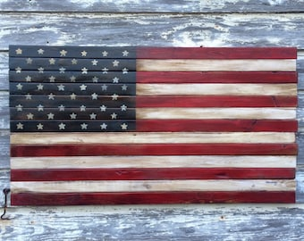 Rustic Wood American Flag Art