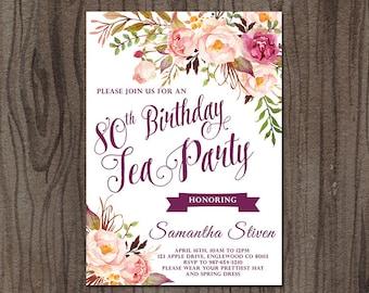 Tea Party Birthday Invitation, Tea Party Invitation, Floral Birthday Invitation, Printable Tea Party Invitation, High Tea Party