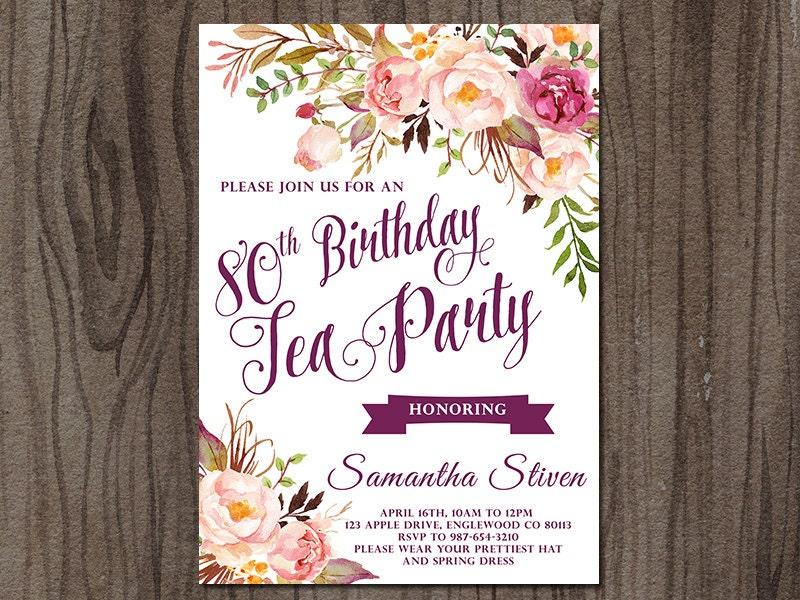 tea party birthday invitation tea party invitation floral, Birthday invitations