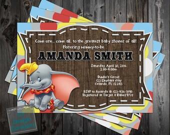 Dumbo the Flying Elephant Baby Shower Invitation Printable