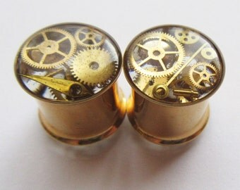 "Gold Cog Plugs 8mm / 0g, 10mm / 00 gauge, 12mm / 1/2"" Steampunk Tunnels, Gears Watch Parts Metallic, Unique Unusual Ear Plugs READY TO SHIP"