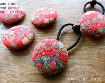 Vintage Kimono Covered Button Ponytail Holder, Red Floral