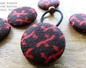 Vintage Kimono Covered Button Ponytail Holder, Red & Dark Purple