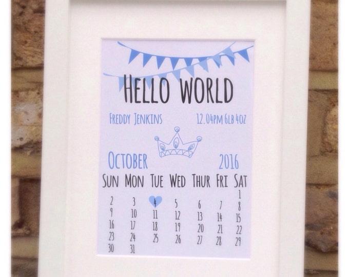 "Hello world baby print framed quote print, 10x7"" New born, children's gift, wall decor. Bew baby gift's."