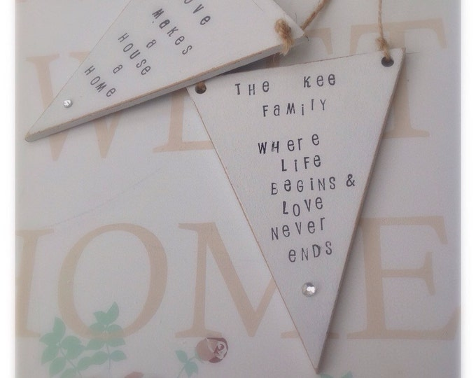 Personalised plaque. Shabby chic love makes a house a home, family sign, available in any colour shabby chic.