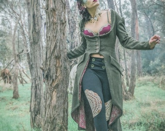 "The Hoot Came Down the Chimney ""Those Who Dream Beneath the Olive Tree"" full length woolen couture coat handmade by Dreaming Vibrations"