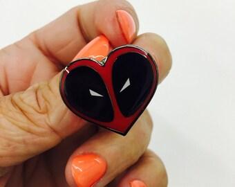 Deadpool Heart Lapel Enamel Pin