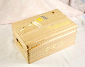 Baby Keepsake Box, Baby Memory Box, Personalised baby gift.  Baby Shower. New Baby. Christening. Wooden. Yellow Washing Line Design. Large.