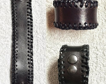 Black Leather Cuff with Braided Detail
