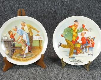 "Vintage Edwin M. Knowles Pair Of 1981/82 The Csatari Grandparent Plates 8 1/2"""