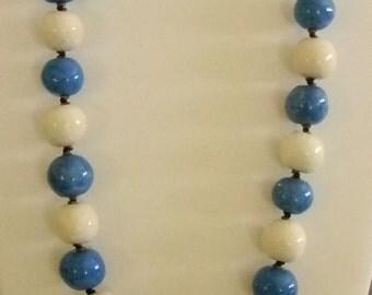 Vintage Blue/Cream Porcelain Round Beaded Chunky Necklace