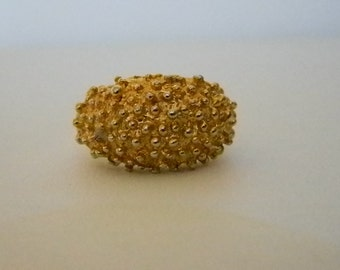 Large Gold Tone Nuggett Ring - Size 6-7