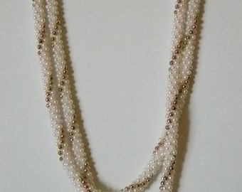 Long Seed Pearl Gold Twisted Necklace