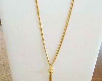Gold Tone Double Snake Chain Necklace