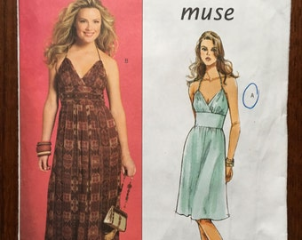 Butterick B4977 MUSE DRESS Sewing Pattern SIZE 6 8 10 12 2007 perfect for hot days and nights!