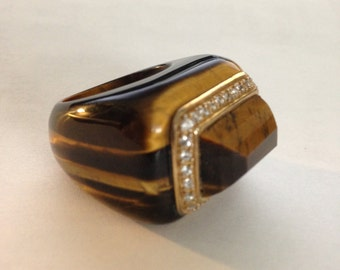 Dome Golden Tiger Eye Ring with Diamonds set in gold