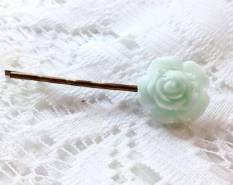 Light Blue Rose Bronze Bobby Pin; Resin Flower Cabochon Hair Pin