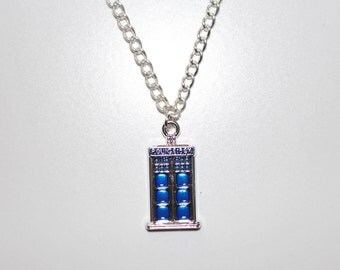 Police office box (Tardis) Doctor Who Inspired silver chain necklace
