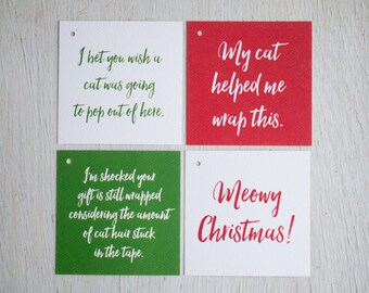 Cat Christmas Tags, Gift Tag Set, Feline Christmas, Gift Wrap, Christmas Packages, Gifts for Cat Lover, Funny Christmas, Kitty Holiday