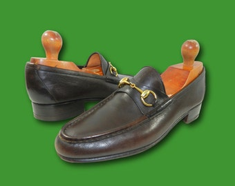 Vintage GUCCI Iconic Horsebit Brown Leather Slip-On Loafers Dress Shoes 42.5 S