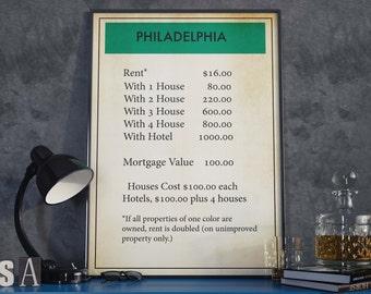 Philadelphia Poster| Monopoly Poster| Board Game Poster| Philadelphia| Monopoly| Monopoly Decor| Monopoly Art| Monopoly Gift| Board Games
