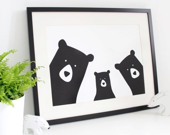 Personalised Bear Family Print / A3 Print / 'selfie' / monochrome / nursery print / family portrait / Original bear family print /