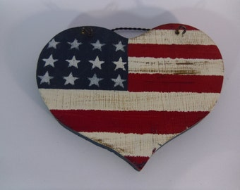 Americana Style, Hand Painted, wood heart, Celebrate the 4th of July in style, Great gift idea ,Bright colors, summer celebration, Americana
