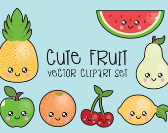 Premium Vector Clipart , Kawaii Fruit Clipart , Kawaii Clip Art Set , High Quality Vectors , Instant Download , Kawaii Fruit Clipart
