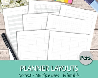 Personal - EN - Printable Planner Layouts Bundle - Grid, Yearly, Monthly, Weekly and Daily Planner, No Text - Printable Planner Insert, PDF