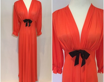 Vintage BOMBSHELL 70s BOUDOIR Orange Nightgown Dressing Gown Lingerie Bow VAVAVOOM S M