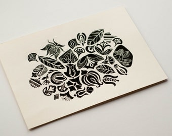 APRIL LINOCUT PRINT, Handmade and hand pulled linocut print, Limited edition printed art, Nature inspired art print, Blacka and white art