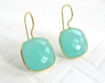 Aqua Chalcedony Statement Earrings - Dangle Earrings - Gemstone Earrings