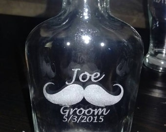 Custom engraved glass flask