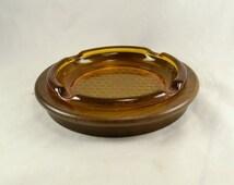 Ashtray - Amber Glass in Walnut Wood Base - Diamond Waffle Pattern - Vintage Mid Century Dead Stock