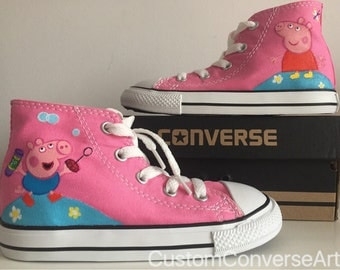 Custom Painted Peppa Pig Converse Hi Tops shoes All Toddler / Childrens sizes