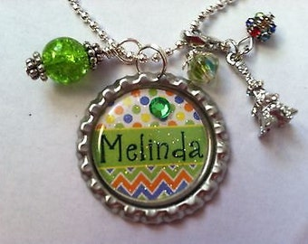 Custom Personalized Name Bottle Cap Necklace, Birthday Party Gift Favor Bottle Cap Necklace Pendant