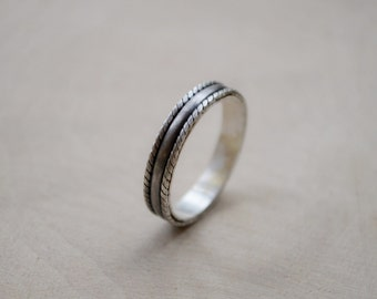 Silver purity ring, Promise ring, boho style unusual thin ring, Wedding for him and her jewellery,  Made to Order