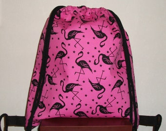 Hot pink cotton with black flamingo and stars waterproof drawstring bag, school bag, lunch bag,gym bag, PE bag, book bag, beach bag.,